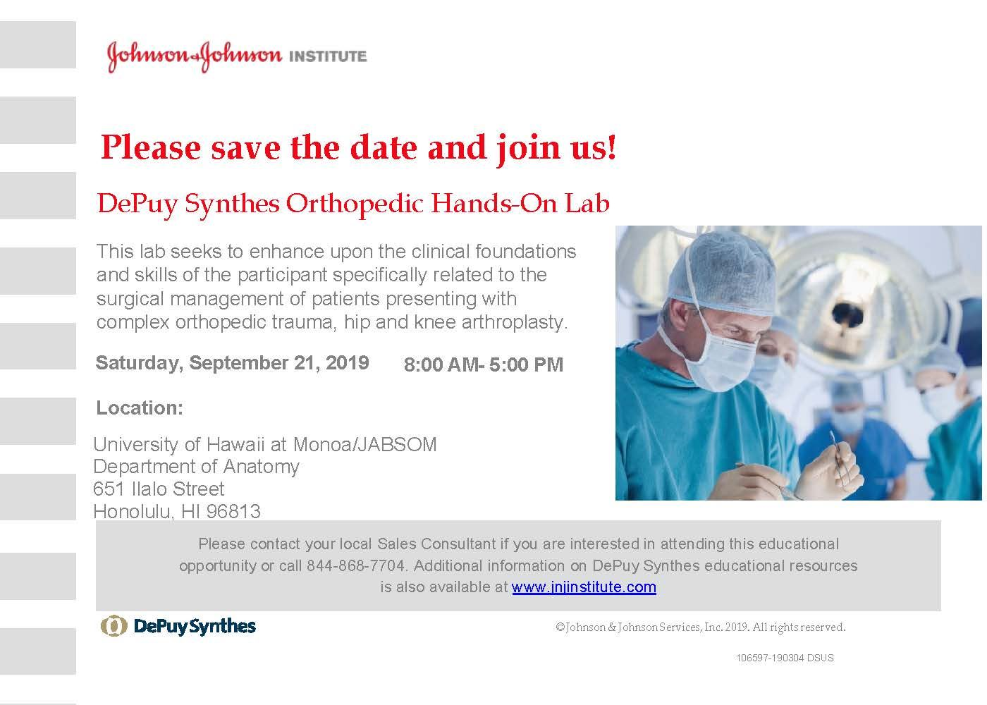 Hawaii Orthopaedic Association - DePuy Synthes Orthopedic